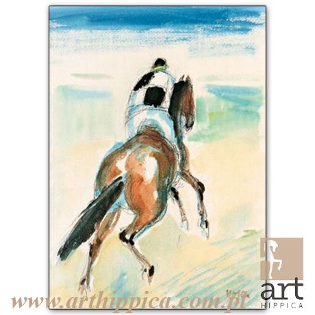 Horse - Painting - Holler Josef | Holler Josef - PRZED FORKENTREM |  A painting by Josef Holler. Signature: Josef Holler; Technique: watercolor; Dimensions: 29,5 x 21,5 cm; Exhibitions: Czech Parliament, Millennium gallery – Prague.