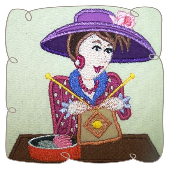 Margaret Knitting Lady 8: Embroidershoppe