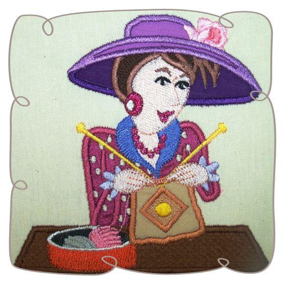 Margaret Knitting Lady 8: Embroidershoppe