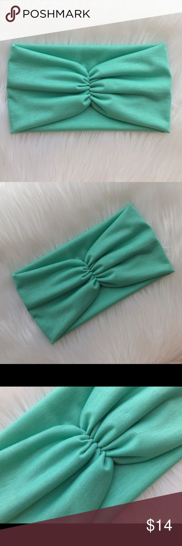 """Scrunch Headband in Mint Scrunch turban headband, Seam to front or back, scrunch in the front and wide in the back. It is wide and comfy, can be worn wide or scrunch it for a thin look                   Material: crafted from a soft and stretchy knit fabric. Band Measures about 5 3/4"""" in the back. Care: Handwash cold, lay flat to dry.  *Color of actual product purchased may slightly vary in hue/ color from photograph due to camera lighting. mercedesbandz Accessories Hair Accessories"""