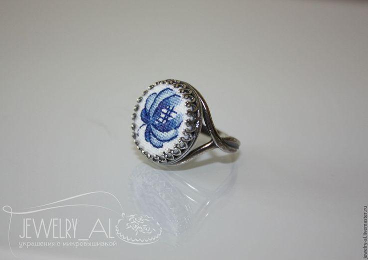 """Купить """" Кольцо Гжель"""" - синий, микровышивка, гжель, гжельский узор, кольцо…"""