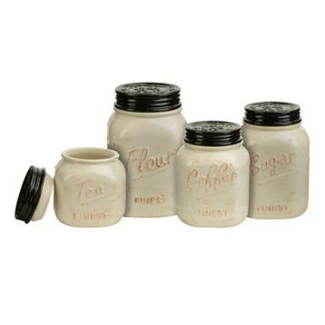 Ivory and Black Kitchen Canisters, Set of 4 | Kirklands
