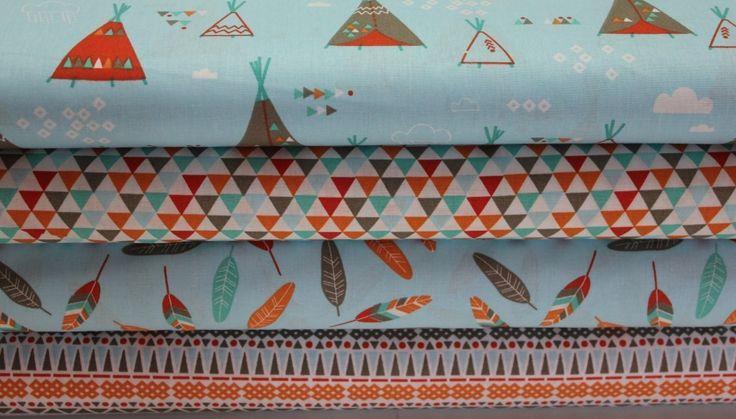 BAVLNĚNÁ PLÁTNA | dětské vzory | Indiánský vzor | LÁTKY METRÁŽ | PATCHWORK | GALANTERIE