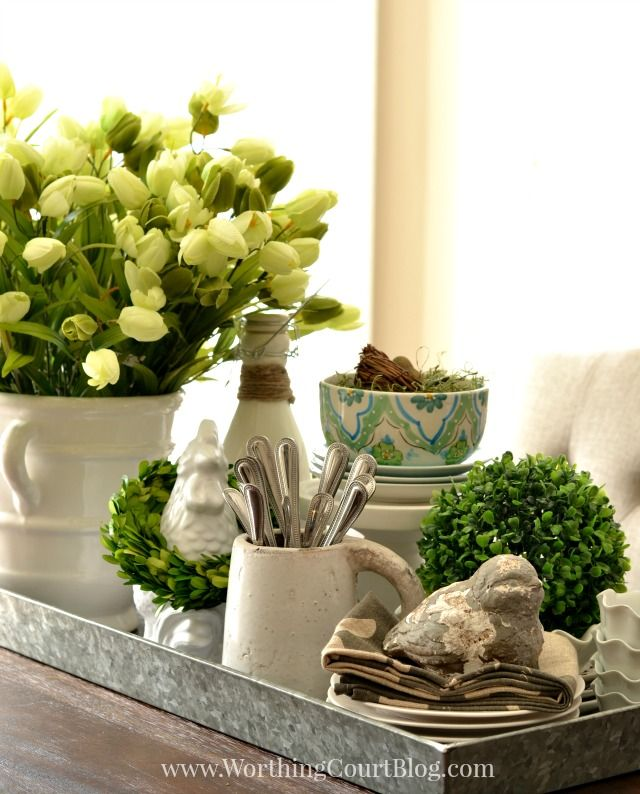Kitchen table spring centerpiece on a galvanized steel for Small kitchen table centerpiece ideas