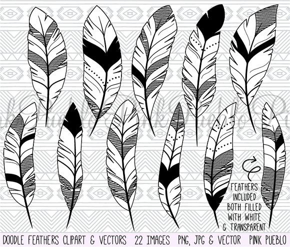 Doodle Feather Clipart And Vectors Feather Drawing Art Clipart Feather Clip Art