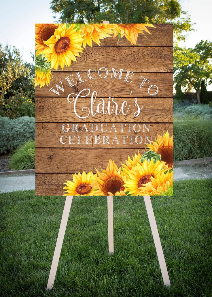 Graduation Party Welcome, Sunflower theme, Grad Party, Printable Sign, Class of 2019, Large printable jpg file, 16×20, 24×30, SF102
