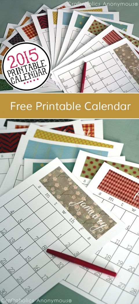 2015 Free Printable Calendar for 8.5 x 11