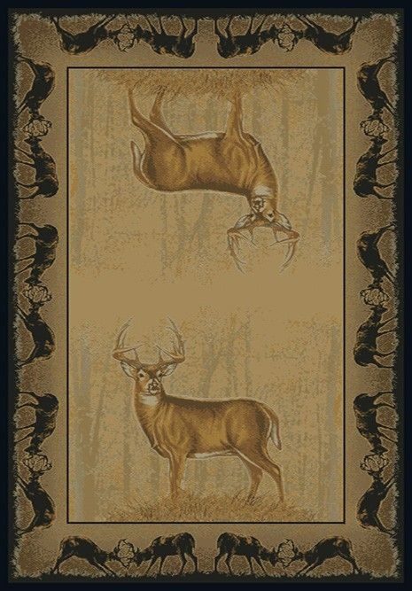 Buckwear Believe Deer Whitetail Rustic Area Rug - 5 Sizes Available