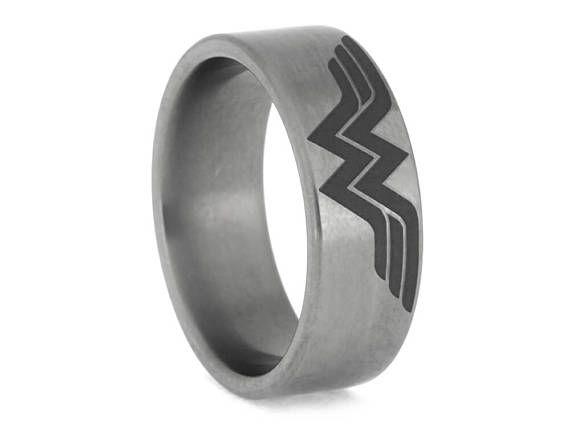 Wonder Woman Titanium Ring, Personalized Superhero Ring, Comic Book Jewelry
