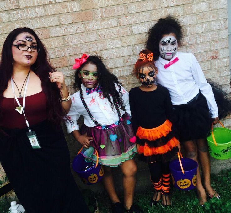 Halloween .. miss. jack-o-lantern 🎃..  fortune teller 🔮 ..dead school girl 💀📚✏.. broken dummie☹❣..