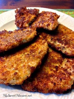 Our Crispy Pan Fried Pork Chops are crunchy, super tasty and ready in about 15 minutes. Get the recipe: http://mysweetmission.net/2014/11/crispy-pan-fried-pork-chops.html