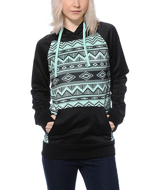 Black and mint tribal tech fleece hoodie made with a long slim fit perfect for layering.