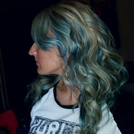 Silver and platinum blonde with pravana neon blue