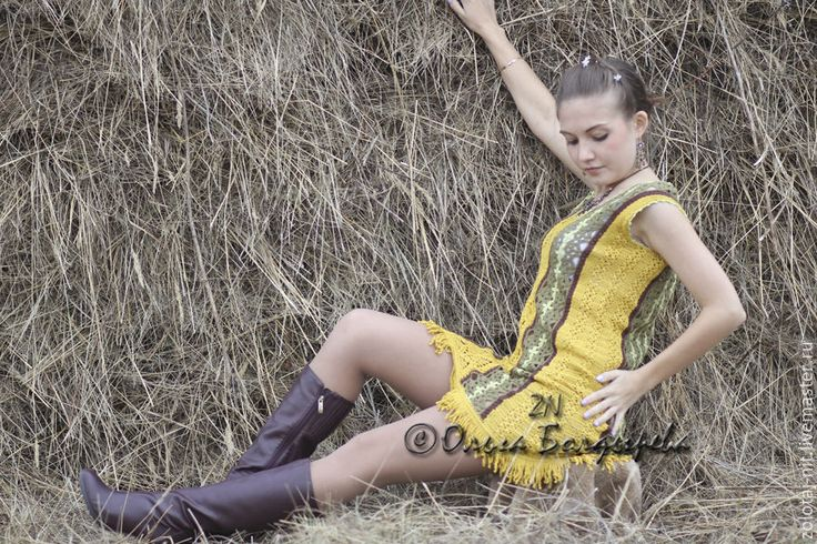 Купить Платье Крестьянка - оливковый, орнамент, кантри, Вязание крючком, вязание на заказ, сарафан