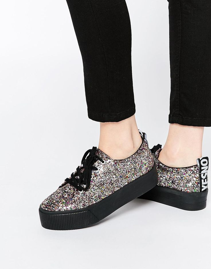 ASOS DACRE Glitter Lace Up Flatform Trainers