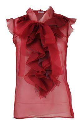 Oscar de la Renta Blouse: Sheer Red, Placket Blouses, Income, Ruffles Placket, Oscars, Organza Ruffles, Sleeveless Organza, Renta Sleeveless, Renta Blouses
