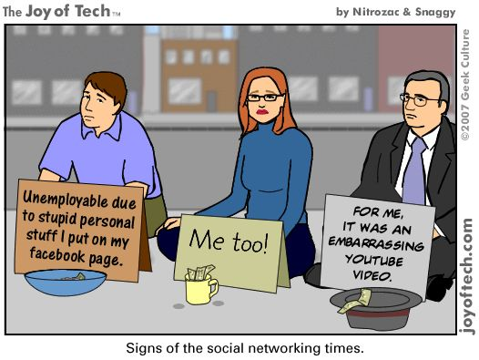 A comic highlighting the way in which ones online presence can affect your career if any content is deemed innappropriate by the employer.