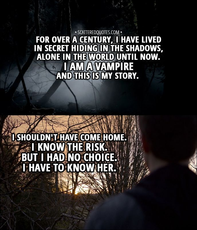 Quote from The Vampire Diaries 1x01 │  Stefan Salvatore (narration): For over a century, I have lived in secret hiding in the shadows, alone in the world until now. I am a vampire and this is my story. I shouldn't have come home. I know the risk. But I had no choice. I have to know her.  │ #TheVampireDiaries #TVD #StefanSalvatore