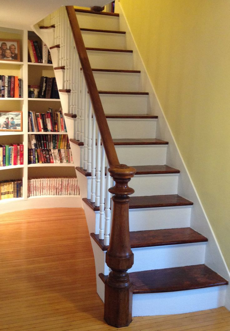 These started out with crappy blue linoleum over blue paint on the treads and chipping off white on the risers and spindles. All was taken down to bare; treads got mahogany gel stain and three coats of polyurethane, risers and spindles (mahogany) got white semi-gloss.
