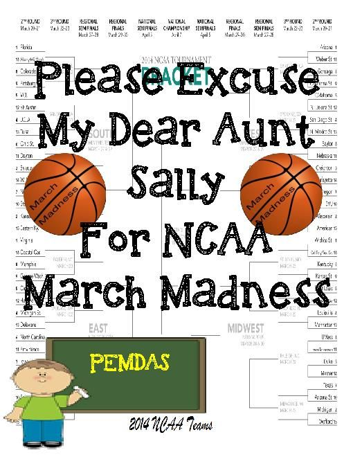 TeacherLingo.com $3.29 - Math should not be boring, especially during NCAA March Madness. Included is a schedule and bracket for the 2014 games. Make a game or have a class raffle with the printable sheets. Order of operations is the one area where students struggle. By having th