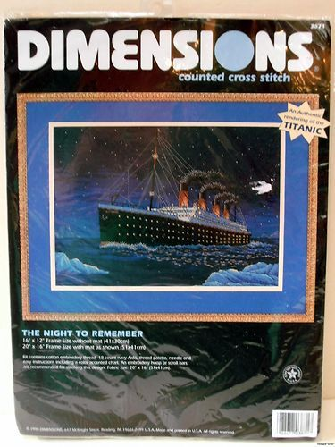 Dimensions titanic the night to remember counted cross stitch kit new free us shipping. New in package, dimensions - cross stitch kit, the night to remember. An authentic rendering of the titanic. Kit contains cotton embroidery thread, 18 count navy aida fabric, thread palette, needle and easy instructions including a color accented chart. . 16x12 frame size without mat, 20x16 with mat as shown. Fabric size is 20x16. 1998 dimensions, inc. Please feel free to ask any questions i may not have…