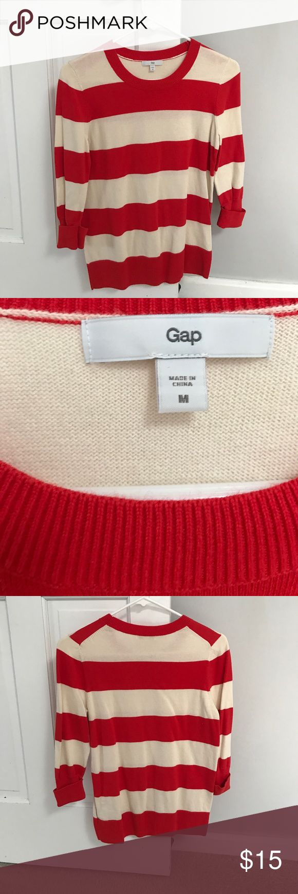 Gap sweater More like a coral red. Rugby stripe. Worn once! Fits more like a S GAP Sweaters Crew & Scoop Necks