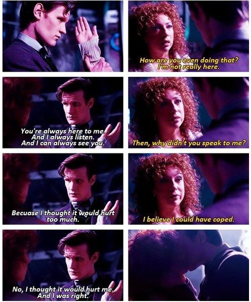 "when I watched this I looked in the background and it was Madame Vastra's gang I think and they were just like ""What?!?"" and eleven was like ""I'm kissing my invisible dead wife deal with it peeps"""