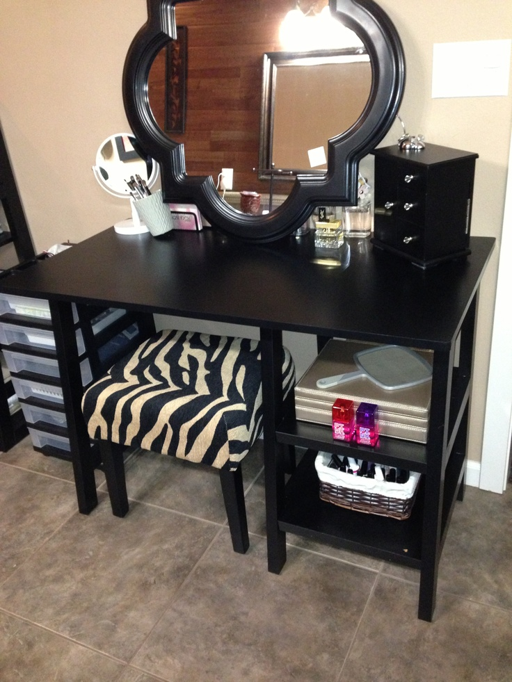 Got a cheap desk and turned it into my vanity got the for Cheap vanity desk
