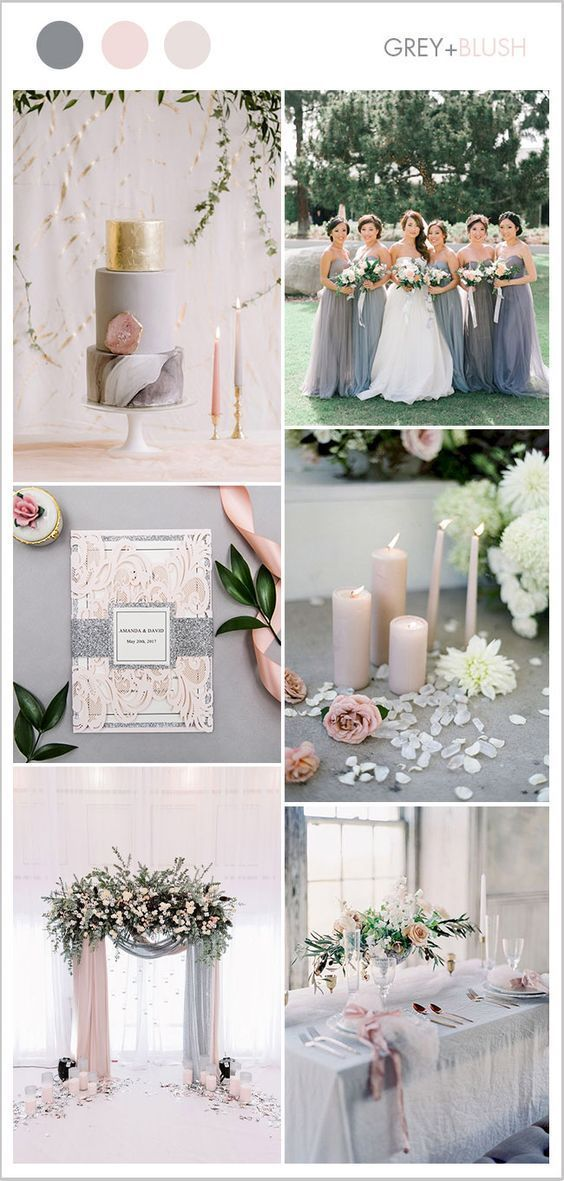 Blush Soft Pink And Silver Grey Dusty Blue Wedding Colors Rustic Elegant Spring Diy Ideas 2019 April May Country