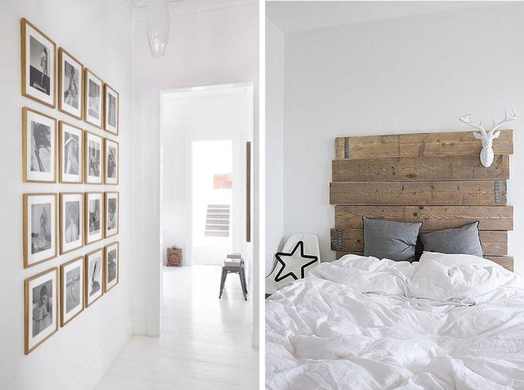 intérieur blanc et bois brut idée décoration design mur tête de lit DIY minimaliste inspiration