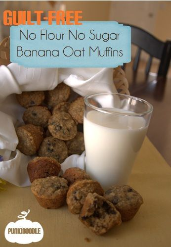 After biting into perfectly soft, moist muffins, you won't believe they have no flour or sugar! Pop them in a ziploc bag in the freezer for instant healthy breakfast on the go.