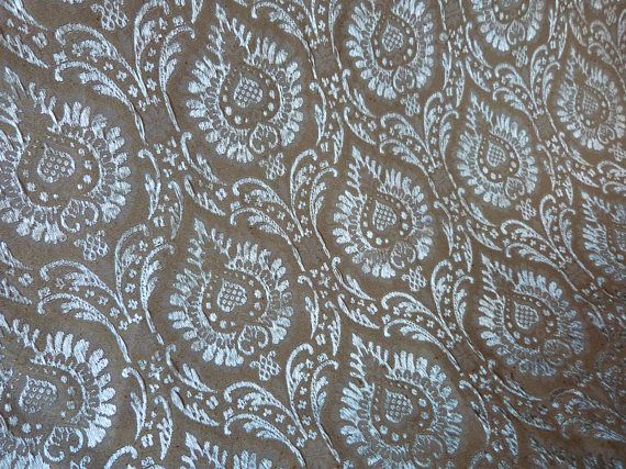 Antique French fabric floral satin brocade fabric ecru pearl