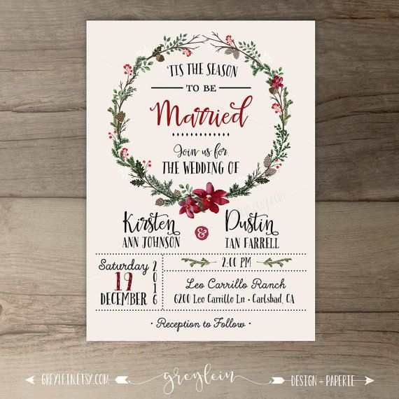 • Custom Unique Winter Christmas wedding Invitations •  All wording is customizable By purchasing this listing you will receive customized printable invitations and rsvp cards that you can print anywhere  **Professional Printing is available. -------------------------------------------------------------------------  Need it in a RUSH?! here is a listing to purchase a 24 hour turn around time: https://www.etsy.com/listing/183788876…