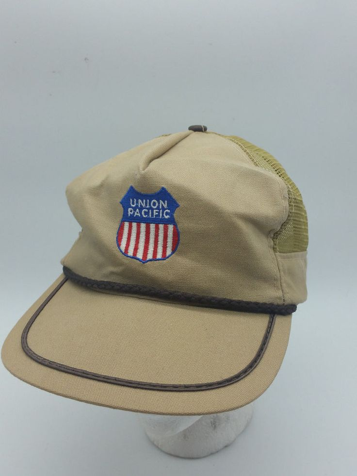 Vtg Union Pacific Railroad Beige Brown Ribbon Mesh Snapback Trucker Hat Cap | Clothing, Shoes & Accessories, Men's Accessories, Hats | eBay!