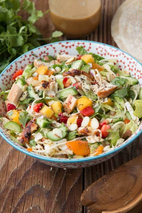 This is our all time favorite mango chicken salad and it's so good as a wrap too! (Did not love the dressing)