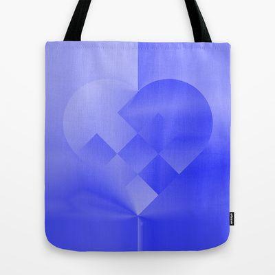 Danish Heart Blues Tote Bag by Gréta Thórsdóttir - $22.00  #love #heart #girly #Christmas #blue #kids #ombre #pattern #shopping