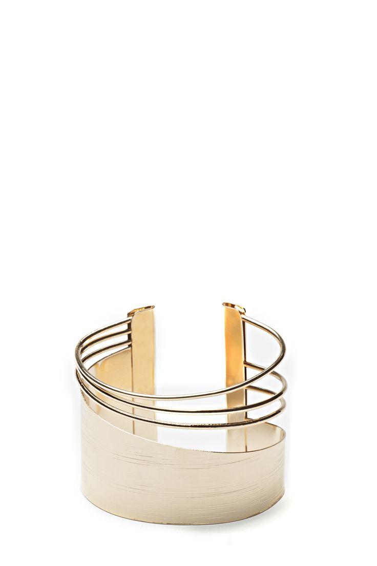 Bracelet manchette asymétrique / Gold asymetrical cuff