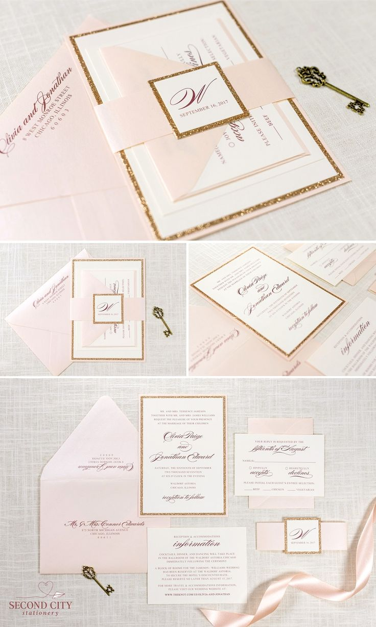 the darling suite blush rose gold glitter and ivory wedding invitation and rsvp - Ivory Wedding Invitations