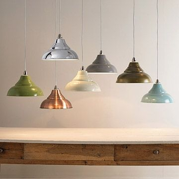 In great colours and simple to fit, these stylish metal ceiling pendants are an easy way to add some vintage chic to your home. Great over a breakfast bar or as a stylish finishing touch to an office, kids' room or hallway. There's no fiddly wiring required, they simply fix over a standard ceiling fitting. Available in seven lovely colours (left to right) - green, copper, chrome, cream, grey, antique brass (lovely muted tone) and powder blue. The inside of the shade is white for all…
