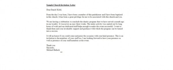 Invitation Letter For Church Event