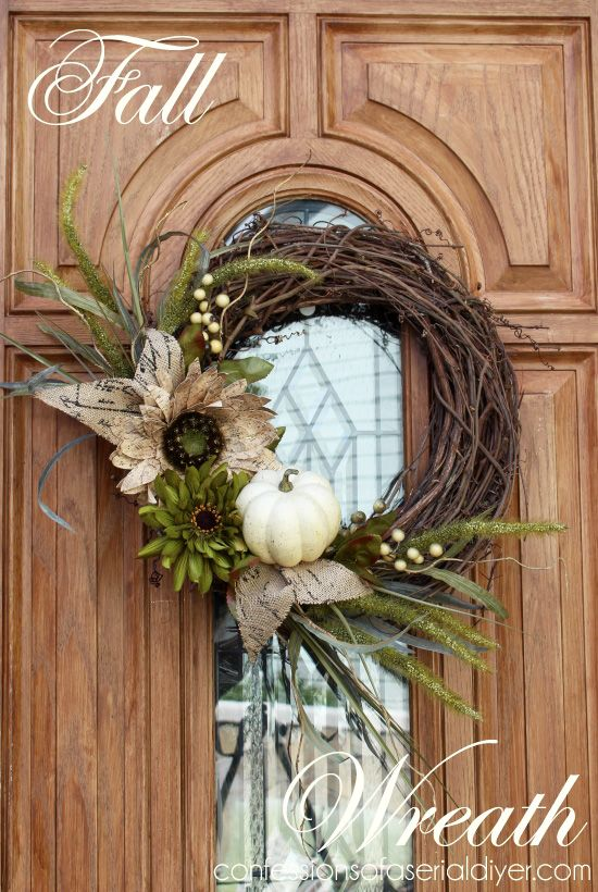 New Fall Wreath - I always like to make a new wreath for each season. Last year I chose very traditional colors for my Fall wreath, but I decided to go with a m…