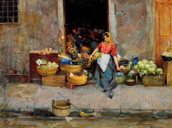 "Stefano Novo (Cavarzere, 1862 – ?, 1937 ) ""La verduraia"" olio su tela, cm. 54x71"