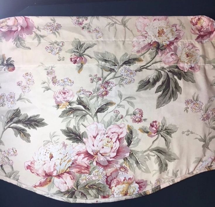 Waverly Valances Pair Of Scalloped Beige Floral Rose Green  | eBay