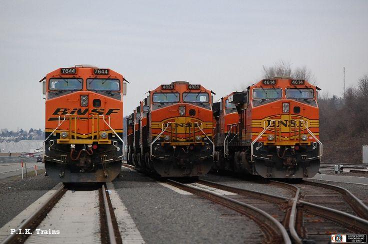 Тепловозы ES44DC-7644, C44-9W-4826 _ 4614 компании BNSF, г. Сиэтл, США