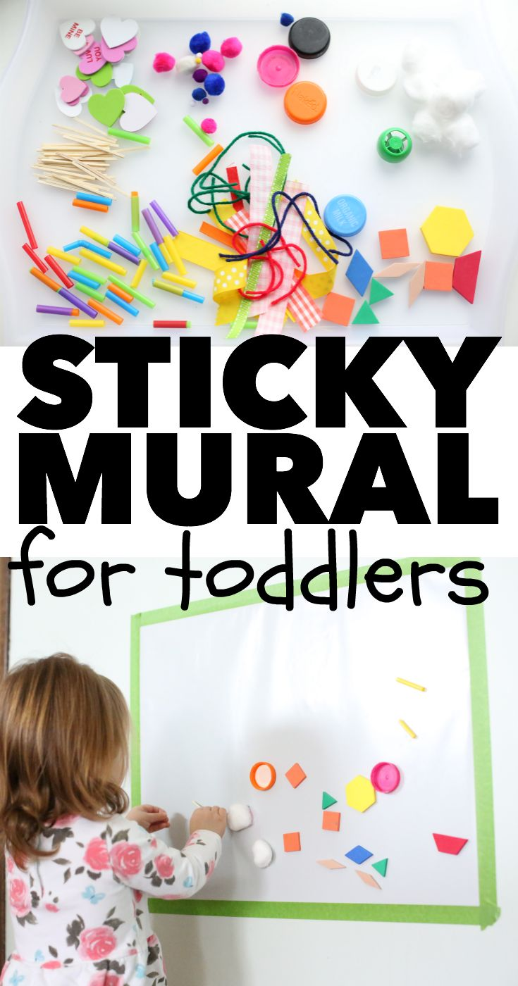 Sticky Mural for Toddlers:  A super simple indoor activity for toddlers and a great way to use random craft supplies!