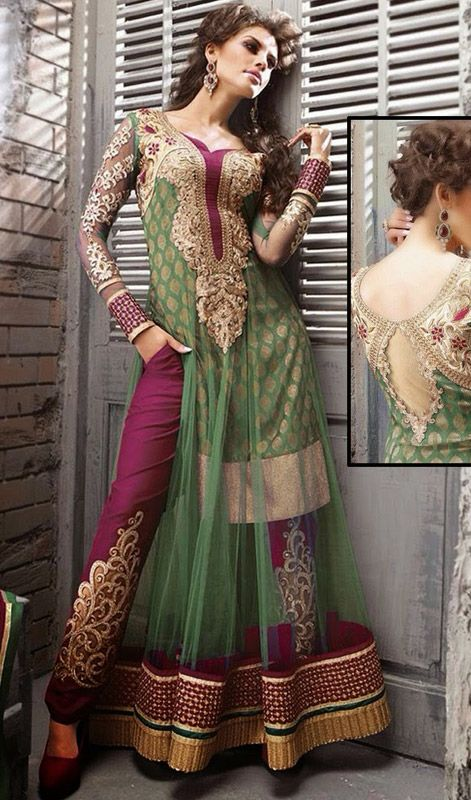 Green Shade Net Embroidered Pant Style Suit