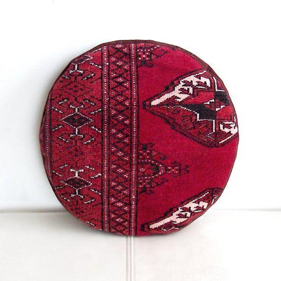 Pomegranate Mini Pouf, Circle Oriental Throw Pillow, Round Pouf Ottoman, Circle Round Sofa-cushion, Bohemian Living, Home Decor, 34x34 cm