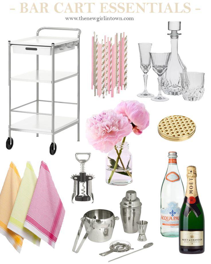 Een bar cart. Het is niet meer alleen een karretje waarop je de (alcoholische) drankjes neerzet en serveert, het is een eye-cacther voor het interieur. Maar wat heb je nodig voor een perfect gestylde bar cart? Meer op www.thenewgirlintown.com #barcart #musthave #interior #essentials #drinks #pink
