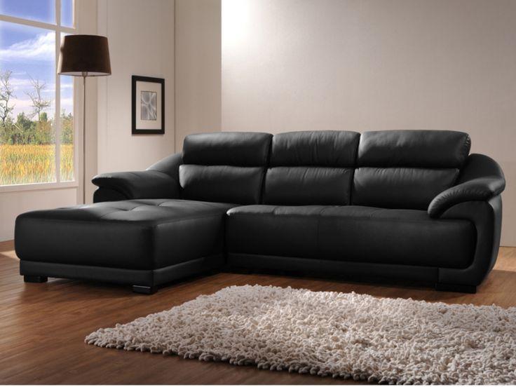 Canapé d'angle en cuir BENITO - Noir - Angle gauche