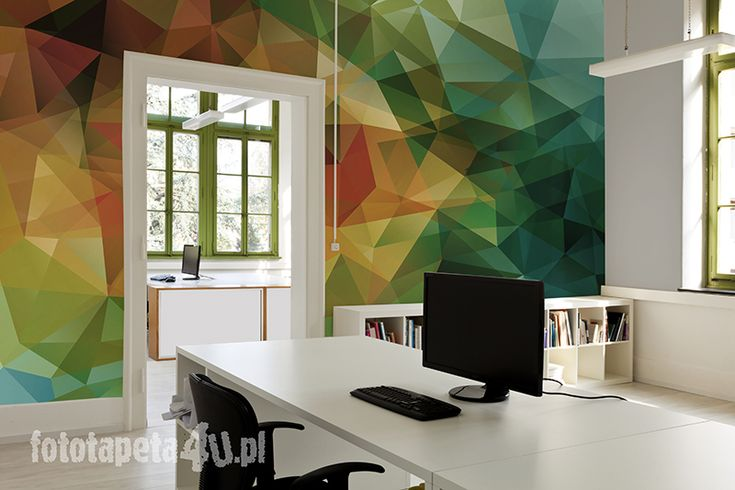 Office with mosaic wallpaper
